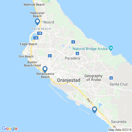 map of fishing charters in Oranjestad