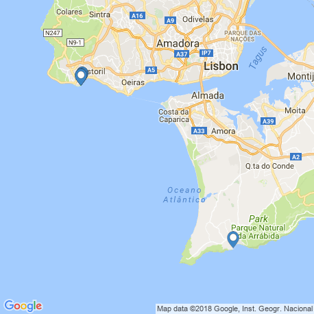 map of fishing charters in Lisboa