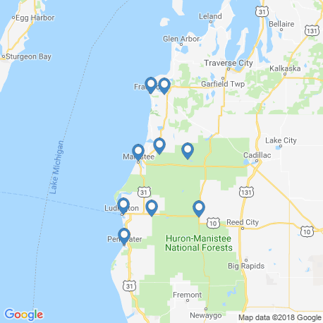 map of fishing charters in Manistee