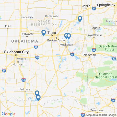 map of fishing charters in Оклахома