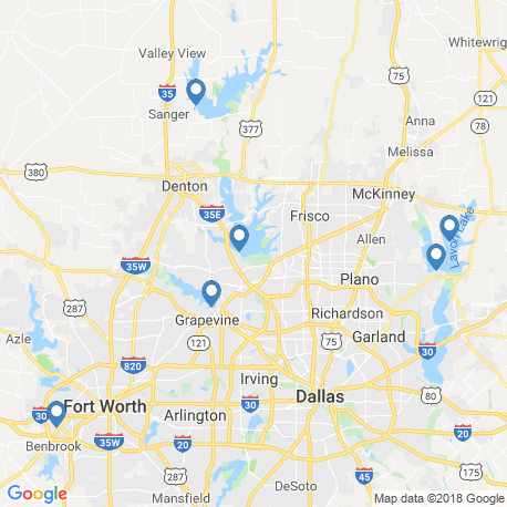 map of fishing charters in Denton