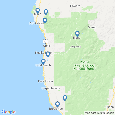 map of fishing charters in Gold Beach