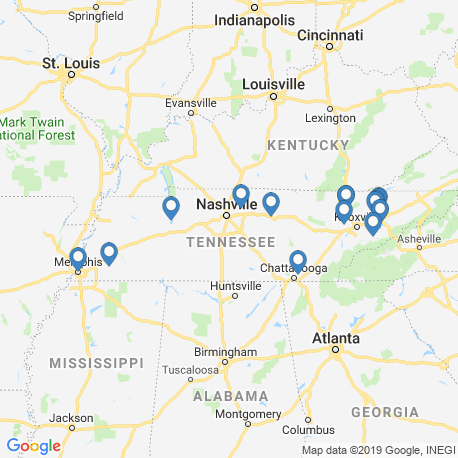 map of fishing charters in Tennessee