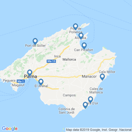 map of fishing charters in Alcudia