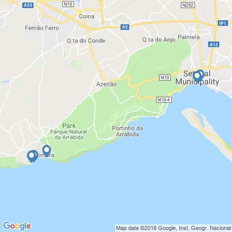 map of fishing charters in Setubal