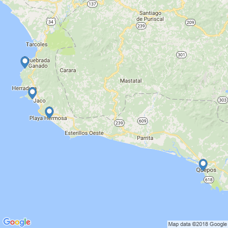 map of fishing charters in Jacó