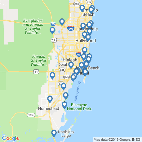 map of fishing charters in Miami