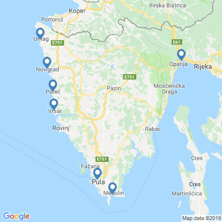 map of fishing charters in Poreč