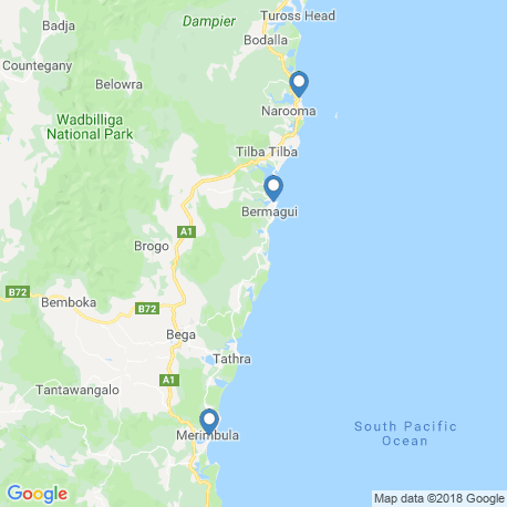 map of fishing charters in Bermagui