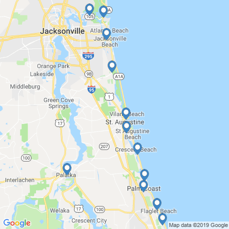 map of fishing charters in St. Augustine