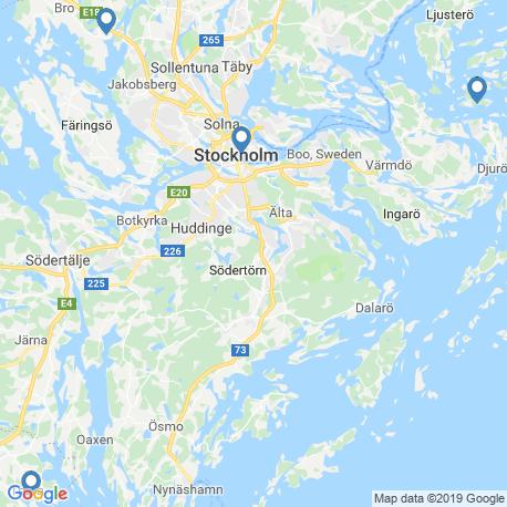map of fishing charters in Stockholms Skärgård