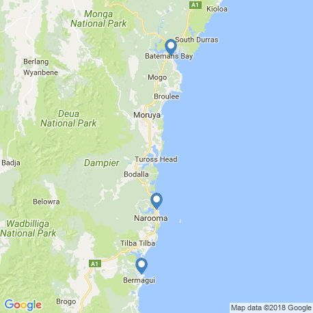 map of fishing charters in Narooma