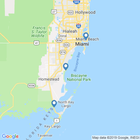 map of fishing charters in Biscayne Bay