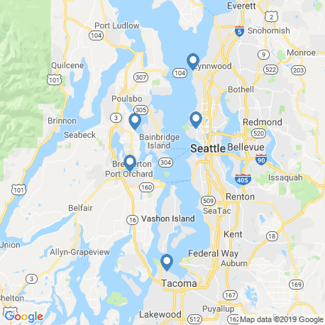 map of fishing charters in Seattle