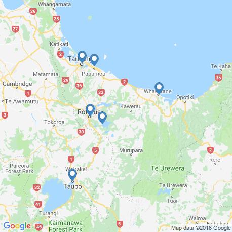 map of fishing charters in Lake Tarawera