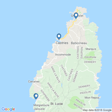 map of fishing charters in St. Lucia