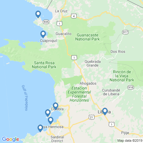 map of fishing charters in La Cruz