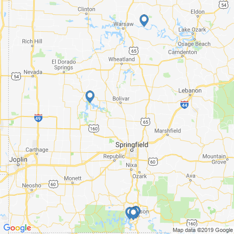 map of fishing charters in Missouri
