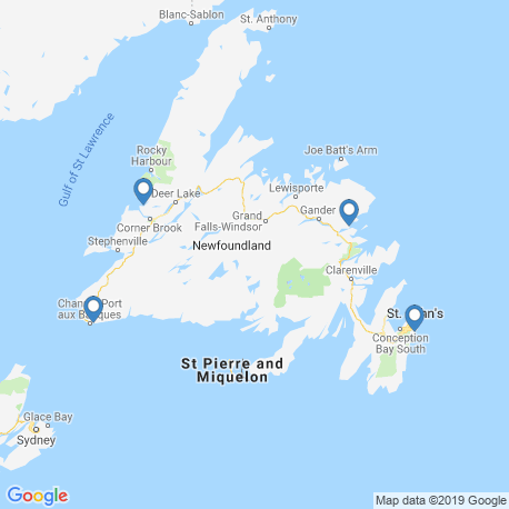 map of fishing charters in Newfoundland and Labrador