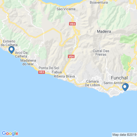 map of fishing charters in Madeira