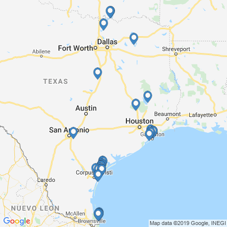 map of fishing charters in Texas