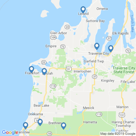 map of fishing charters in Frankfort