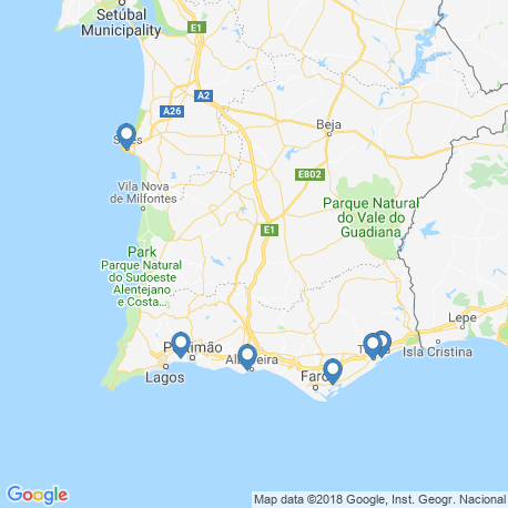 map of fishing charters in Фару
