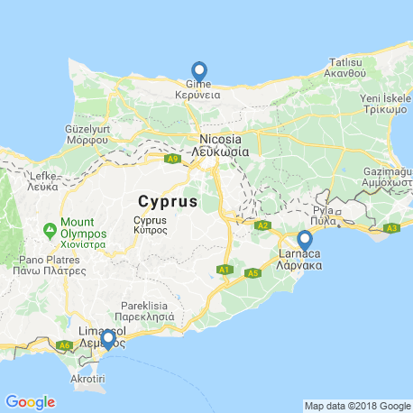 map of fishing charters in Larnaca