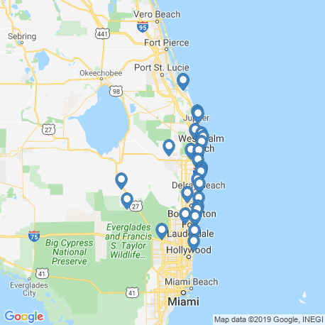 map of fishing charters in Lake Worth