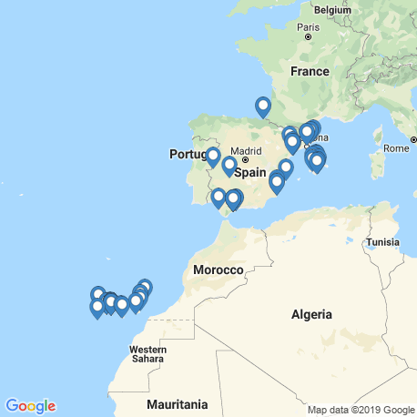 map of fishing charters in Spain