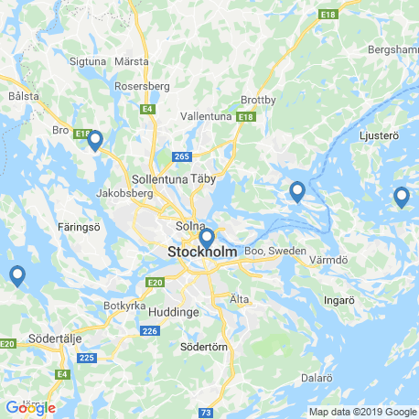 map of fishing charters in Vaxholm