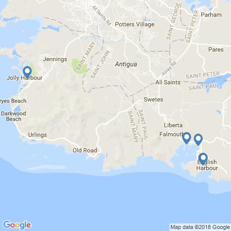 map of fishing charters in Antigua und Barbuda