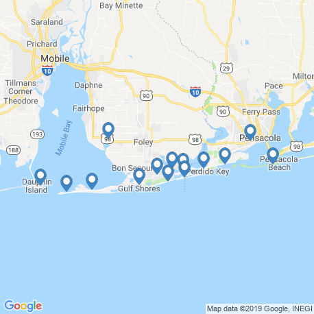 map of fishing charters in Gulf Shores