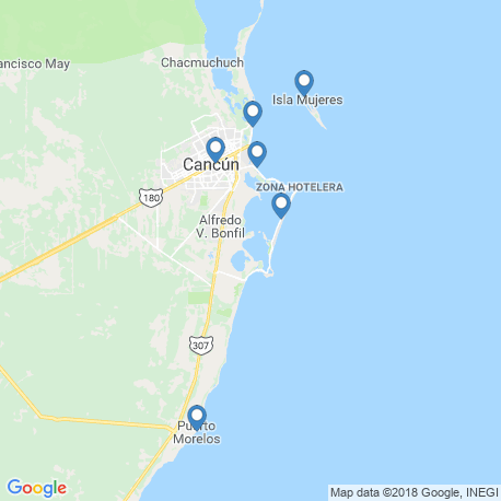 map of fishing charters in Isla Mujeres