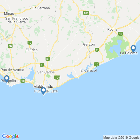 map of fishing charters in Uruguay