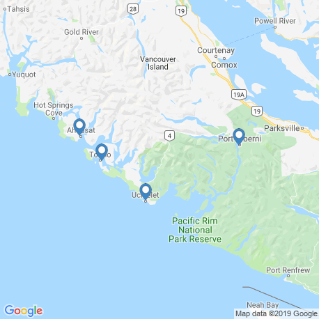 map of fishing charters in Ucluelet