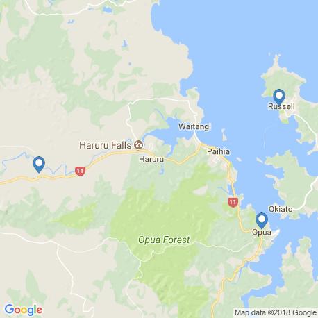 map of fishing charters in Opua