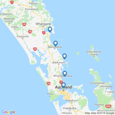 map of fishing charters in Hauraki Gulf