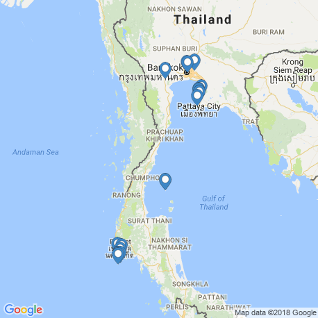 map of fishing charters in Thailand