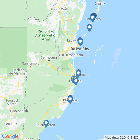 map of fishing charters in Belize