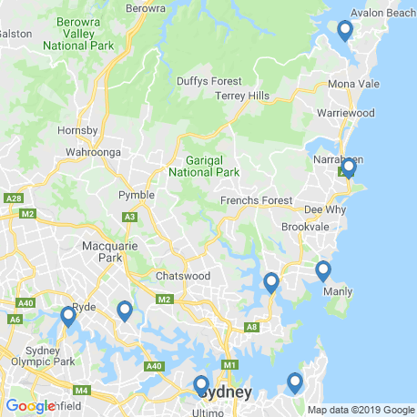 map of fishing charters in Sydney