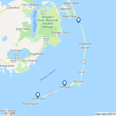 map of fishing charters in Hatteras