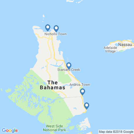 map of fishing charters in Andros