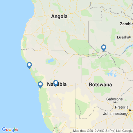 map of fishing charters in Namibia