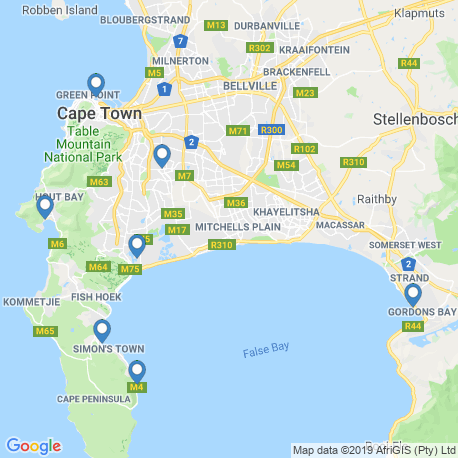 map of fishing charters in Cape Town