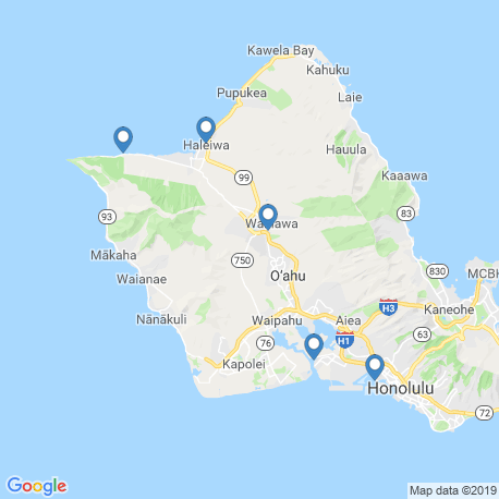 map of fishing charters in Haleiwa