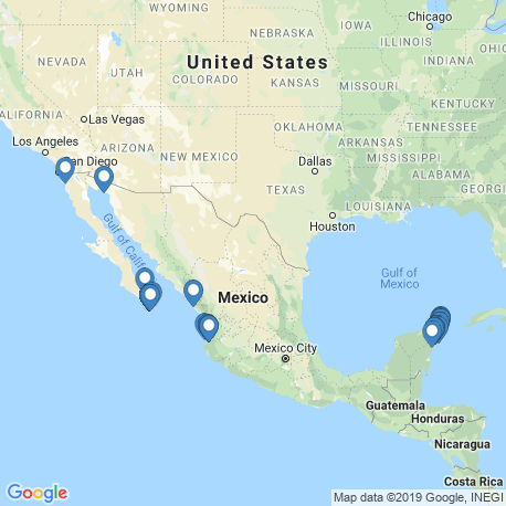 map of fishing charters in Mexico