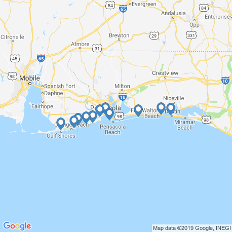 map of fishing charters in Gulf Breeze