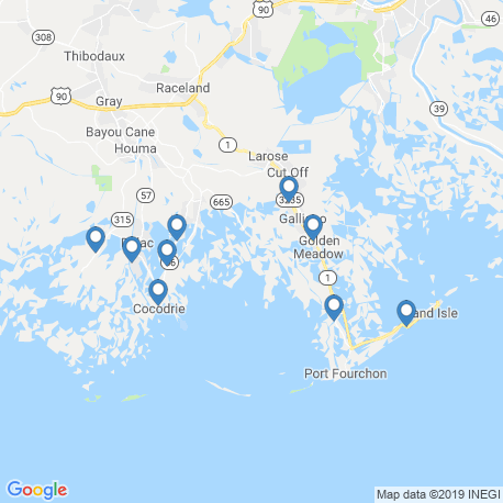 map of fishing charters in Cocodrie