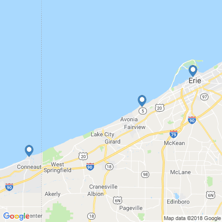 map of fishing charters in Erie